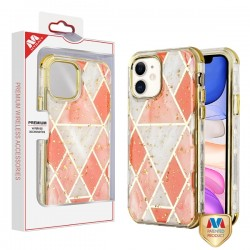 Electroplated Pink Marble/Electroplating Gold TUFF Kleer Hybrid Case (with Package) For Iphone 11