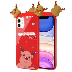 Christmas Deer Tempered Glass Backing Executive Protector Cover For IPhone 11