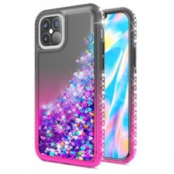 "Color Change Diamond Glitter Quick Sand for iPhone 12 Max & Pro(6.1"") - Black/Pink"