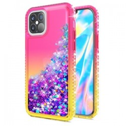 "Color Change Diamond Glitter Quick Sand for iPhone 12 Max & Pro(6.1"") - Pink/Yellow"