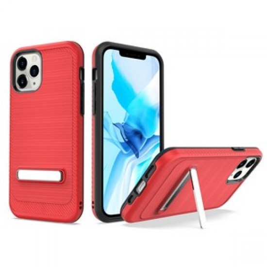 """Brushed with magnetic kickstand for iPhone 12 PRO&MAX (6.1"""") - Red"""
