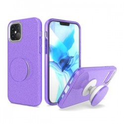 BLING CASE WITH POP UP BLACK FOR IPHONE 12 MAX & PRO 6.1 INCH - PURPLE