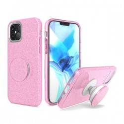 BLING CASE WITH POP UP BLACK FOR IPHONE 12 MAX & PRO 6.1 INCH - PINK