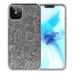 For Apple iPhone 12 6.1 inch Deluxe Glitter Diamond Electroplated PC TPU Hybrid - Black