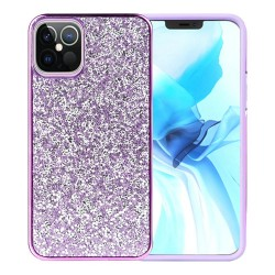 For Apple iPhone 12 6.1 inch Deluxe Glitter Diamond Electroplated PC TPU Hybrid - Purple