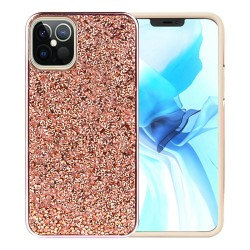 For Apple iPhone 12 6.1 inch Deluxe Glitter Diamond Electroplated PC TPU Hybrid - Rose Gold