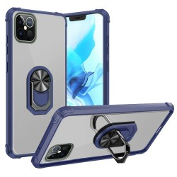 "Clear Transparent Ring Stand Magnetic Hybrid for iPhone 12 PRO&MAX (6.1"") - Clear/Blue"