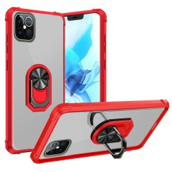 "Clear Transparent Ring Stand Magnetic Hybrid for iPhone 12 PRO&MAX (6.1"") - Clear/Red"