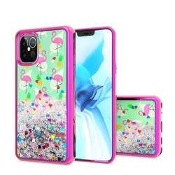 Design Water Quicksand Glitter Chrome TPU, For Apple iPhone 12 6.1 inch - Flamingo Pineapple Feather
