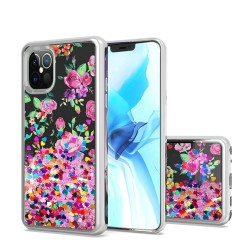 Design Water Quicksand Glitter Chrome TPU, For Apple iPhone 12 6.1 inch - Pink Purple Flower