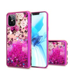 Design Water Quicksand Glitter Chrome TPU, For Apple iPhone 12 6.1 inch - Rose Pink White Flower