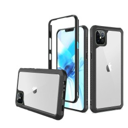 For Apple iPhone 12 6.1 inch Novel Air-Tight Anti-Fall 3in1 Transparent Clear ShockProof Cover - Black
