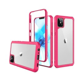 For Apple iPhone 12 6.1 inch Novel Air-Tight Anti-Fall 3in1 Transparent Clear ShockProof Cover - Hot Pink