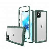 For Apple iPhone 12 6.1 inch Novel Air-Tight Anti-Fall 3in1 Transparent Clear ShockProof Cover - Midnight Green