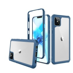 For Apple iPhone 12 6.1 inch Novel Air-Tight Anti-Fall 3in1 Transparent Clear ShockProof Cover - Navy blue