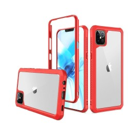 For Apple iPhone 12 6.1 inch Novel Air-Tight Anti-Fall 3in1 Transparent Clear ShockProof Cover - Red