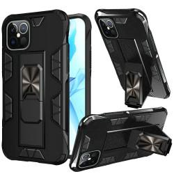 Optimum Metal Ring Kickstand Hybrid For Apple iPhone 12 6.1 inch - Black