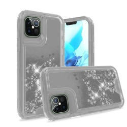 "3in1 High Quality Transparent Liquid Glitter Snap On Hybrid for iPhone 12 PRO&MAX (6.1"") - Clear"