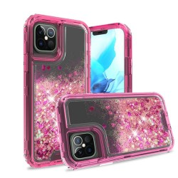 "3in1 High Quality Transparent Liquid Glitter Snap On Hybrid for iPhone 12 PRO&MAX (6.1"") - Hot Pink"