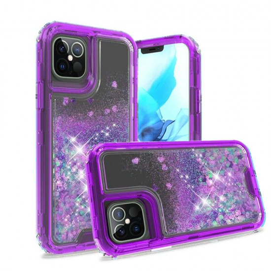 """3in1 High Quality Transparent Liquid Glitter Snap On Hybrid for iPhone 12 PRO&MAX (6.1"""") - Purple"""