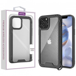 Asmyna Hybrid Case for APPLE iPhone 12 Max (6.1) - Transparent Clear Carbon Fiber Texture / Black