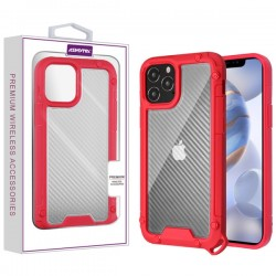 Asmyna Hybrid Case for APPLE iPhone 12 Max (6.1) - Transparent Clear Carbon Fiber Texture / Red