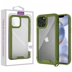 Asmyna Hybrid Case for APPLE iPhone 12 Max (6.1) - Transparent Clear Carbon Fiber Texture / Green