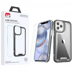 MyBat Pro Lux Series Hybrid Case (Tempered Glass Screen Protector) for Apple iPhone 12 (6.1) / iPhone 12 Pro (6.1) - Black / Transparent Clear