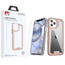 MyBat Pro Lux Series Hybrid Case (Tempered Glass Screen Protector) for Apple iPhone 12 (6.1) / iPhone 12 Pro (6.1) - Rose Gold / Transparent Clear