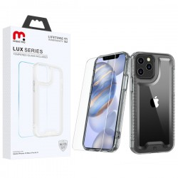 MyBat Pro Lux Series Hybrid Case (Tempered Glass Screen Protector) for Apple iPhone 12 (6.1) / iPhone 12 Pro (6.1) - Transparent Clear / Transparent Clear
