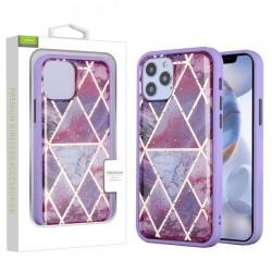Airium Hybrid Case for Apple iPhone 12 (6.1) / iPhone 12 Pro (6.1) - Purple Marbling / Purple