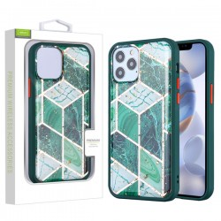 Airium Hybrid Case for Apple iPhone 12 (6.1) / iPhone 12 Pro (6.1) - Green Marbling / Green