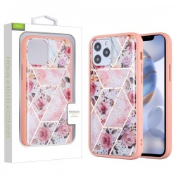 Airium Hybrid Case for Apple iPhone 12 (6.1) / iPhone 12 Pro (6.1) - Roses Marbling / Pink