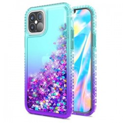 "Color Change Diamond Glitter Quick Sand for iPhone 12 PRO MAX(6.7"") - Mint/Purple"