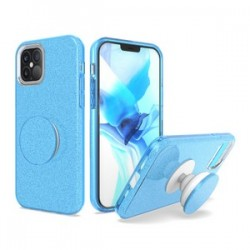 "BLING CASE WITH POP UP FOR IPHONE 12 PRO MAX 6.7"" - BLUE"