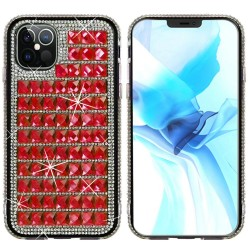 For iPhone 12 Pro Max 6.7 Bling Diamond Shiny Crystal Case Cover - Red