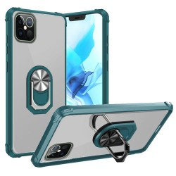 "Clear Transparent Ring Stand Magnetic Hybrid for iPhone 12 PRO MAX(6.7"") - Clear/Midnight Green"