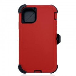 iPhone 12 Mini hybrid case with clip heavy duty kickstand holster cover - Red/Black