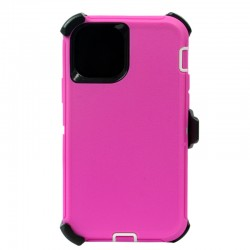 iPhone 12 Mini hybrid case with clip heavy duty kickstand holster cover - Pink/White