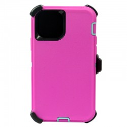 iPhone 12 Pro Max hybrid case with clip heavy duty kickstand holster cover - Pink/Blue