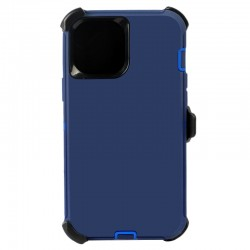 iPhone 12 Pro Max hybrid case with clip heavy duty kickstand holster cover - Navy/Blue