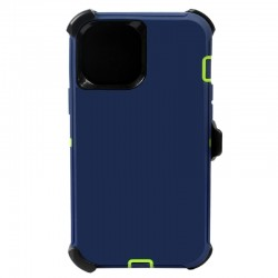 iPhone 12 Pro Max hybrid case with clip heavy duty kickstand holster cover - Navy/Green