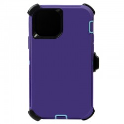 iPhone 12 Pro Max hybrid case with clip heavy duty kickstand holster cover - Purple/Blue