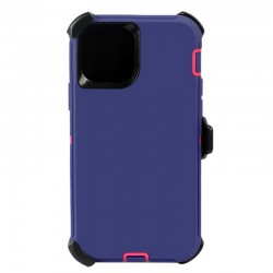 iPhone 12 Pro Max hybrid case with clip heavy duty kickstand holster cover - Purple/Pink