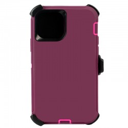 iPhone 12 Pro Max hybrid case with clip heavy duty kickstand holster cover - Burgundy