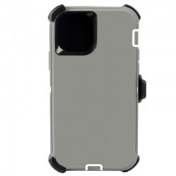 iPhone 12 Mini hybrid case with clip heavy duty kickstand holster cover - Grey-White