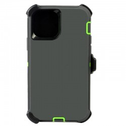 iPhone 12 Mini hybrid case with clip heavy duty kickstand holster cover - Grey/Green