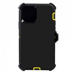 iPhone 12 Mini hybrid case with clip heavy duty kickstand holster cover - Black/Yellow