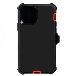 iPhone 12 Mini hybrid case with clip heavy duty kickstand holster cover - Black/Orange