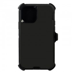iPhone 12 Pro Max hybrid case with clip heavy duty kickstand holster cover- Black/Black